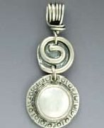 Pendant 12mm Freshwater Coin Pearl in Substantial Bezel on Vine Bail