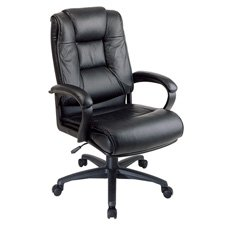 "Office Star Products Products - Exec. High-Back Chair, 26-1/2""x31-1/2""x46-1/4"", Leather, Black - Sold as 1 EA - High-back executive leather chair features top leather contoured seat and back with built-in lumbar support and leather padded loop arms. Functions include one-touch pneumatic seat-height adjustment, 360-degree swivel, tilt, tilt tension and tilt lock. Executive chair offers heavy-duty nylon base with dual-wheel carpet casters. Seat size is 21-1/2"" x 22"" deep x 5"" thick. Back size is 2"