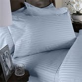 STRIPED 1500 Thread Count Egyptian FULL/QUEEN Duvet Cover Set, LIGHT BLUE