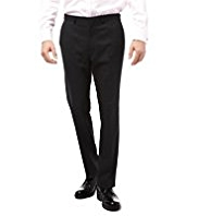 Big & Tall Slim Fit Machine Washable & Tumble Dry Flat Front Trousers with Wool