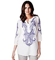 Per Una Pure Cotton Folk Embroidered Kaftan Top