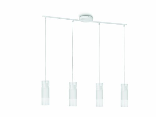 Philips Aln Lampada a Sospensione LED, Bianca 3 Cilindro Singolo in Metallo e Vetro