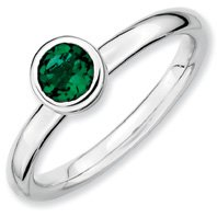 0.46ct Silver Stackable Low 5mm Round Emerald Ring. Sizes 5-10 Available