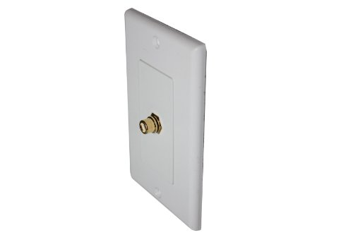 Single RCA Connector Wall Plate for Subwoofer Speaker (White)