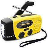 Esky Solar Weather Radios Hand Crank Self Powered Emergency FM/AM/NOAA Radio with LED Flashlight and 1000mAh Yellow (Color: Yellow, Tamaño: 5.9*3.1*2.5 Inchs)