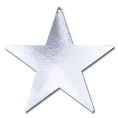 "Amscan Shiny Foil Star Five Pack Party Cutouts, 15"", Silver"