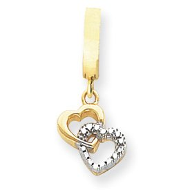 14K Rhodium D-Cut Double Interlocking Heart T-Toy Belly Ring - JewelryWeb