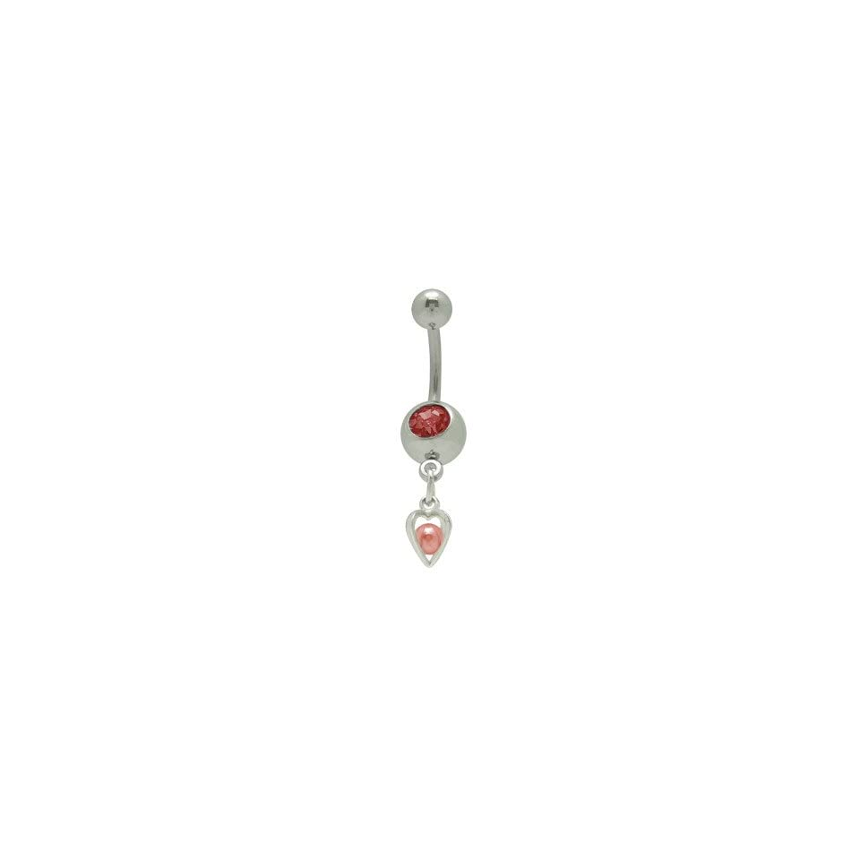 Dangle Heart Jeweled Belly Button Ring Red Jewelry