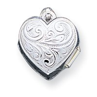 Sterling Silver Scrolled Heart Locket - JewelryWeb