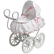 Victorian Pram White Pink Doll Stroller By for American Girl's Bitty Baby