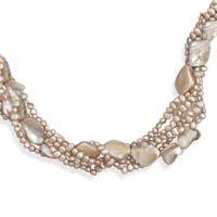 Extension Multistrand Cultured Freshwater Pearl and Shell Necklace, Sterling Silver