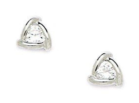 Sterling Silver Rhodium Plated CZ Small Triangle Screwback Earrings - Measures 7x7mm - JewelryWeb