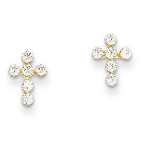 14k Yellow Gold CZ Cross Children's Earrings