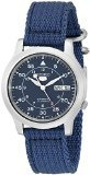 seiko-5-mens-automatic-watch-with-black-dial-analogue-display-and-blue-fabric-strap-snk807k2