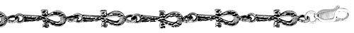 Sterling Silver Egyptian Ankh Charm Bracelet , 1/4 inch (6 mm).