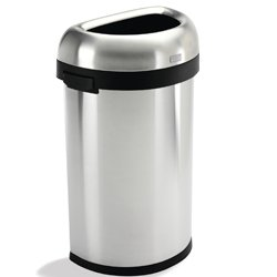 Simplehuman 3229600 Stainless Steel Half-Round Waste Container with Open Lid, 16 Gallon Capacity, 18.5\