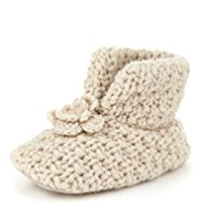 Chunky Knit Floral Pram Shoes