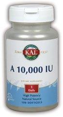 KAL Vitamin A 10,000 IU Softgels, 100 Count