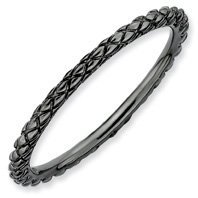 Deep Care Silver Stackable Black Criss Cross Ring. Sizes 5-10 Available