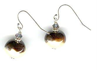 Kazuri Earrings - Antique Gold and Cream.