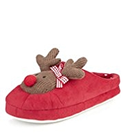 M&S Collection Knitted Reindeer Mule Slippers