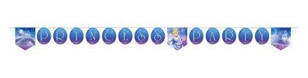 Cinderella 'Sparkle' Plastic Happy Birthday Banner (1ct)
