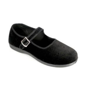 Demonia New Black Canvas Velvet Flat Ballet Mary Jane Rock Goth Women's Shoes - Ladies UK 4 / EU 37 / US 7