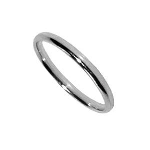 WB27-14K-5 14 KT White Gold Comfort Fit 2mm Wide Wedding / Engagement Band Ring Size 5, 6, 7, 8, 9, 10, 11, 12, 13