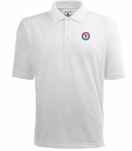 Texas Rangers Classic Pique Xtra Lite Polo Shirt (White) - XXX-Large by Antigua