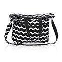 Thirty One Retro Metro Fold Over - Black Chevron - no monogram