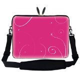 Meffort Inc 15 15.6 inch Laptop Sleeve Bag Carrying Case with Hidden Handle and Adjustable Shoulder Strap - Pink Swirl Design