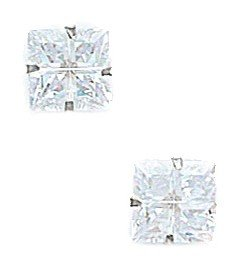 14k White Gold 7x7mm 4 Segment Square CZ Light Prong Set Earrings - JewelryWeb
