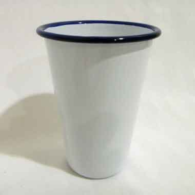 Tumbler, Vintage White With Blue Rim