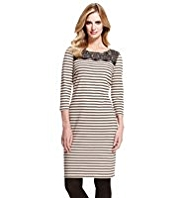 M&S Collection Pure Cotton Lace & Striped Tunic Dress