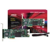 3ware 9650SE-12ML SGL PCI Express x8 SATA II (3.0Gb/s) Controller Card Internal Connectors: 3 x Multi-lane RAID: RAID Levels 0, 1, 5, 6, 10, 50, Single Disk, JBOD Cache Memory: 256 MB DDR2 533 Operating Systems Supported: Microsoft Windows 2003/XP/2000, Red Hat Linux, SuSE Linux, Fedora Linux, 2.4 Linux kernel, 2.6 Linux kernel, FreeBSD Parts: 3 years limited