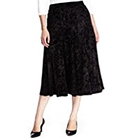 Plus Panelled Velour Long Skirt