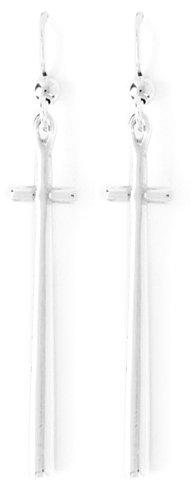 Bob Siemon Sterling Silver Tall Cross Drop Earrings
