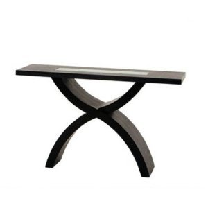 Image of 55 Inch Rectangle Console Table with Crackled Glass Inset and X-Shaped Base by Diamond Sofa (B005JDDP1O)
