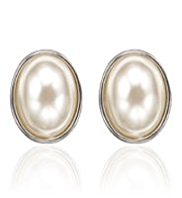 M&S Collection Pearl Effect Oval Faberge Clip-On Earrings