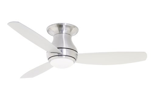 "Emerson Cf144Bs 44"" Curva Sky Flush Mount Ceiling Fan - Blades, Light Kit And Re, Brushed Steel"
