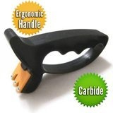 Perfect Edge Handheld Knife Sharpener -Scissor Sharpener and Tool Sharpener - Carbide V Sharpening Concept - Full Length Safety Guard