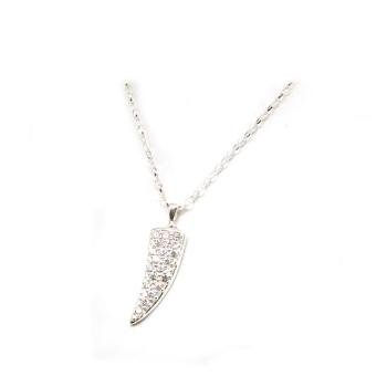 Toc Sterling Silver Cz Set Ice Horn Pendant on a 21 Inch Chain