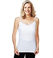 Post Surgery Lace Trim Pyjama Vest Top with Secret Support™