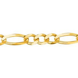 14K Solid Yellow Gold Classic Figaro Chain Necklace 4.5mm thick 18 Inches