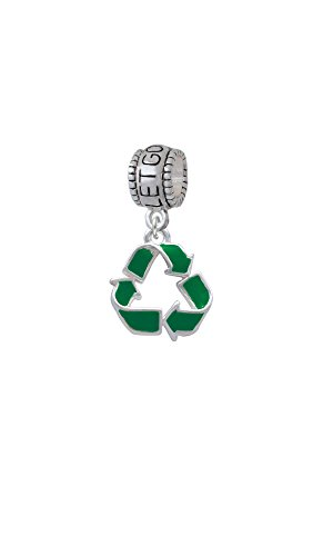 Green Enamel Recycle Symbol - Let Go Let God Charm Bead