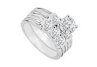 14K White Gold Diamond Engagement Ring with Wedding Band Set 1.10 CT TDW MADE IN USA