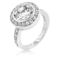 The Ritz Carlton Ring - White Gold Rhodium Bonded Clear CZ - Size 8