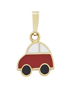 14k Enamel Toy Car Pendant - JewelryWeb