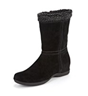 Footglove™ Suede Fold Down Faux Fur Boot