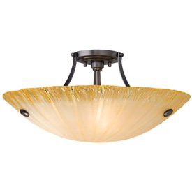 LBL Lighting JC398AMBZ2D100 Bowl Semi-Flush Mounts with Amber Glass Shades, Bronze